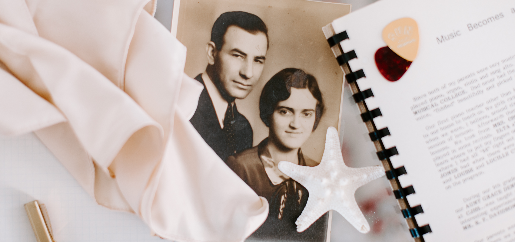 Images that represent Melody's grandmother, including a scarf, a photo of
