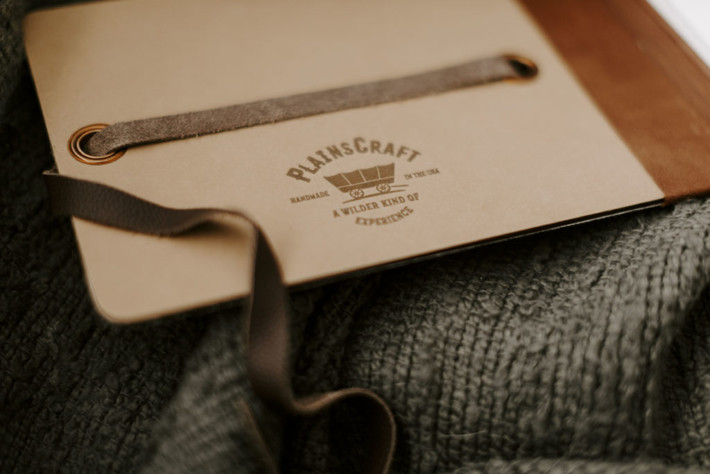 PlainsCraft logo is letterpressed into a cover